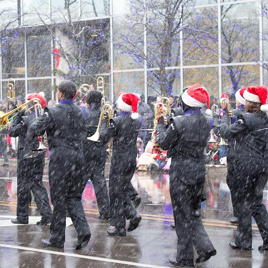 A marching band in the Santa Parade in Grand Rapids Michigan photo
