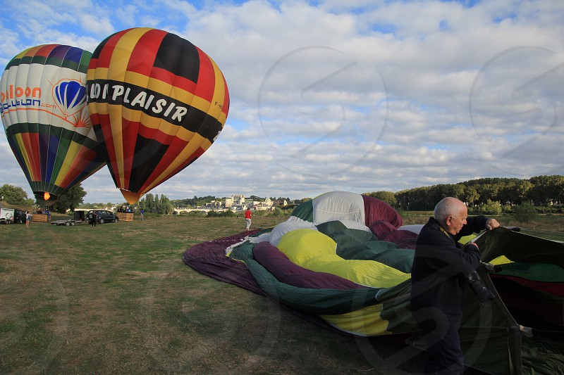 Hot air balloons over the Loire Valley photo