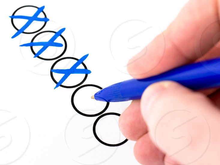 Hand Tick accept ballpoint blue box business check checkbox checked checklist choice circle correct cross elect election fill list mark marker multiple choice office order paper pen questionnaire refuse select selection survey task list test todo todo list vote voters pick photo
