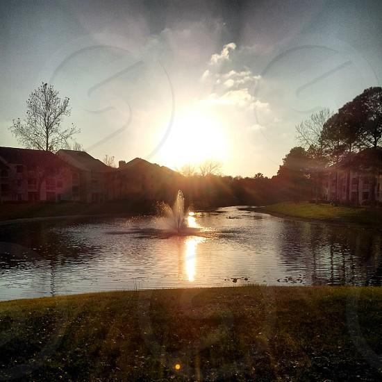 Pond Fountain Sunrise photo