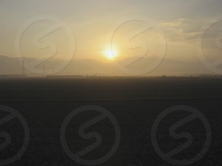 sunrise morning shine bright rice fields landscape photo