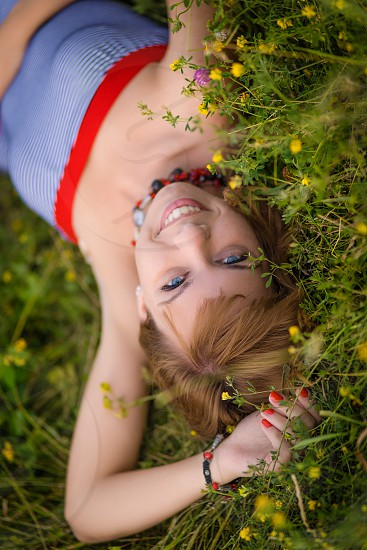 Woman upside down portrait for cover photo