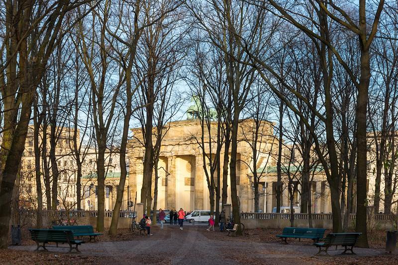 Brandenburger Tor and Tiergarten Mitte neighborhood in Berlin Germany photo