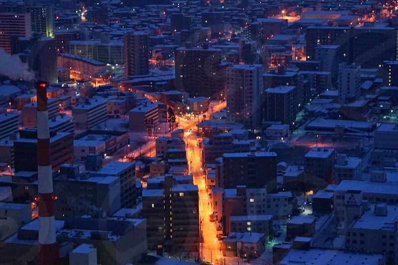 Sapporo city night view photo