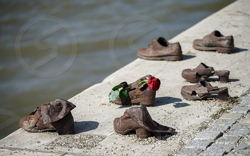 Iron shoes memorial to Jewish people executed WW2 in Budapest photo