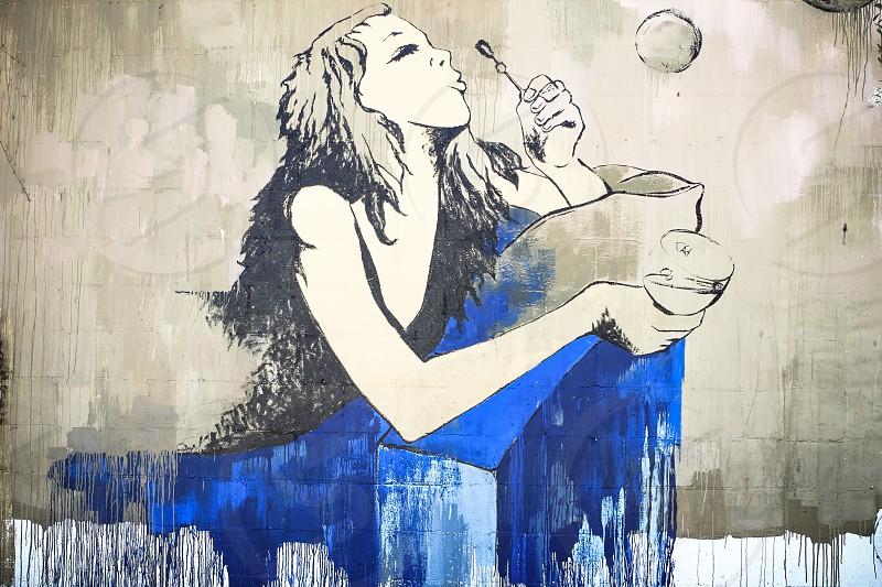 Urban art blue bubble drawing photo