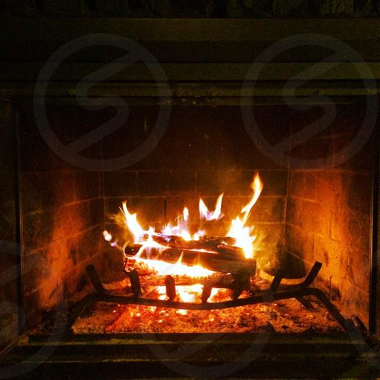 Fireplace fire warm photo