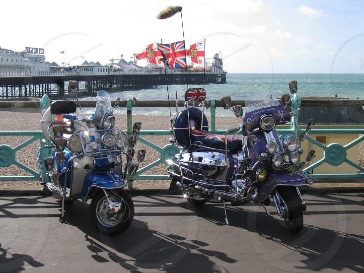 Mod scooters on Brighton beach UK. photo