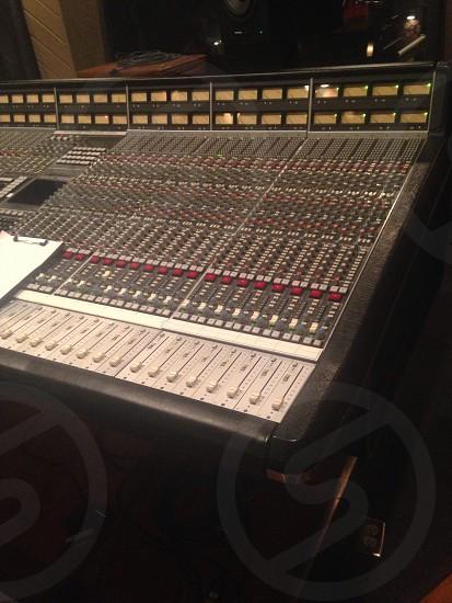 black red and white audio mixer photo