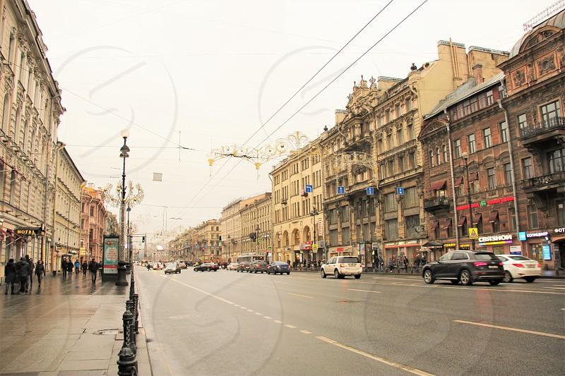 Nevsky Prospekt. Nevsky Street Saint Petersburg Russia.  November 2017 photo