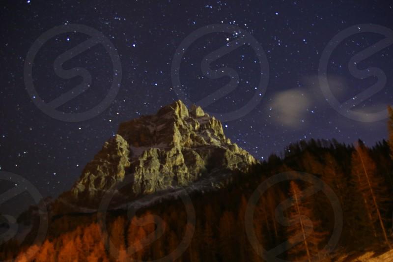 starry night in Dolomites photo