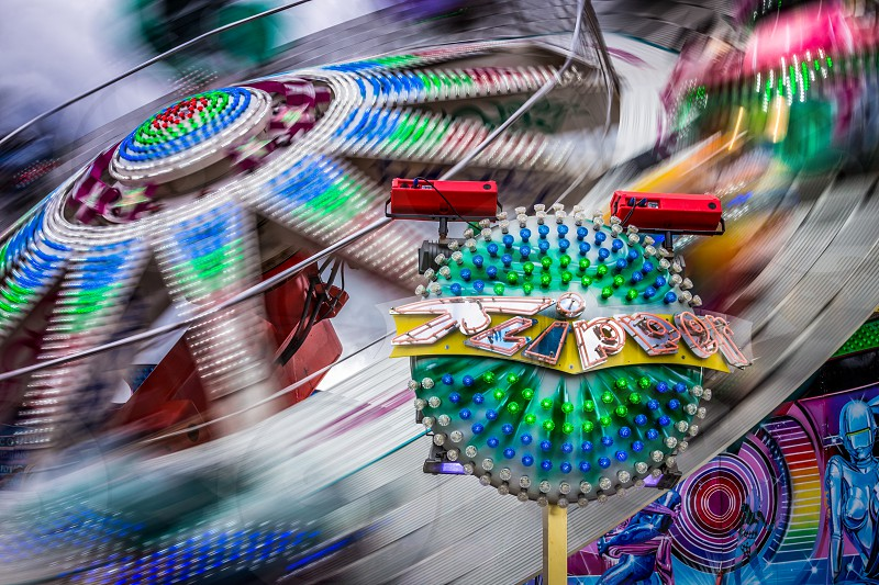 Roller coaster at Cannstatter Wasen Oktoberfest in Stuttgart Germany photo
