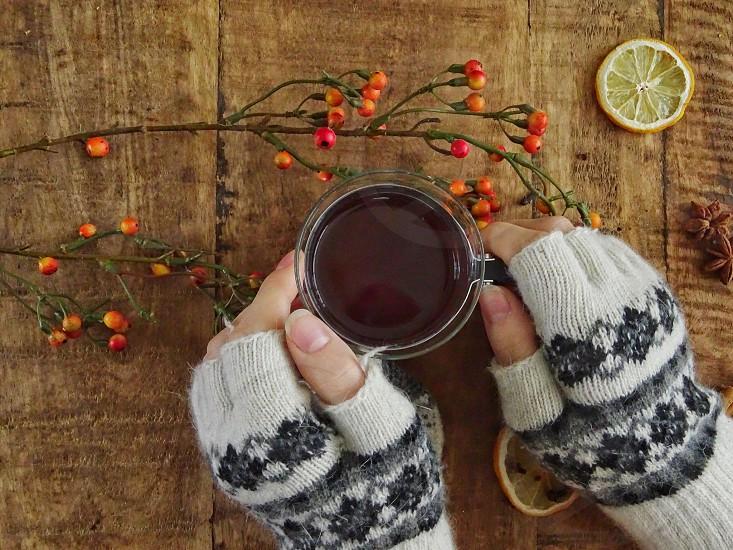 mittens hot drink tea decoration drink wooden background fingershands gloves wintertime winter season relaxing enjoy  photo