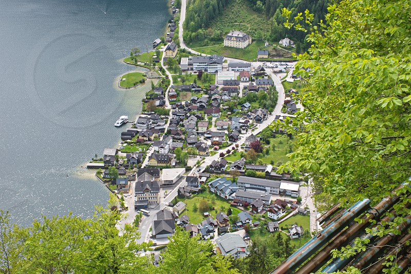 High angle scenic view of Lahn area on Hallstatt lake in Austria photo