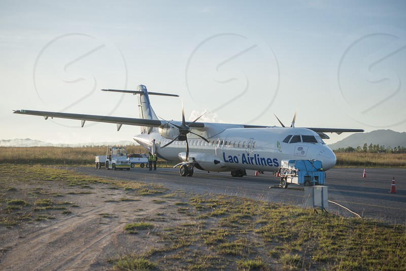 the airport in the town of Phonsavan in the province Xieng Khuang in north Lao in southeastasia. photo