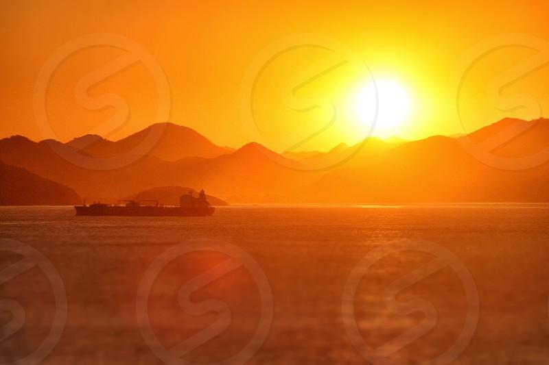 A golden orange sunset from Rio de Janeiro Brazil photo