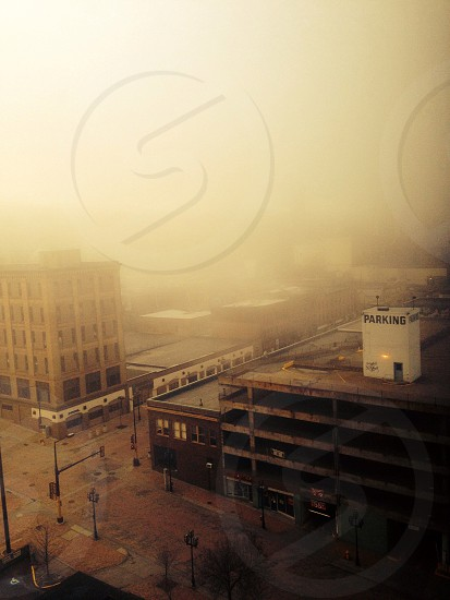 Ghost town fog downtown vacant apocalypse parking city light  photo