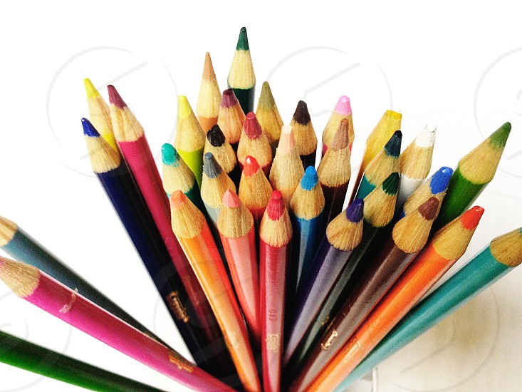 brown wooden coloring pencils photo