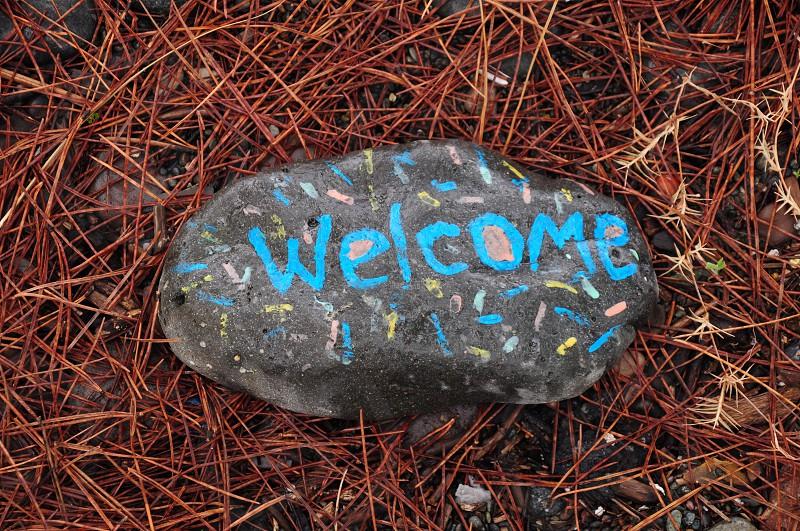 welcome printed grey rock photo