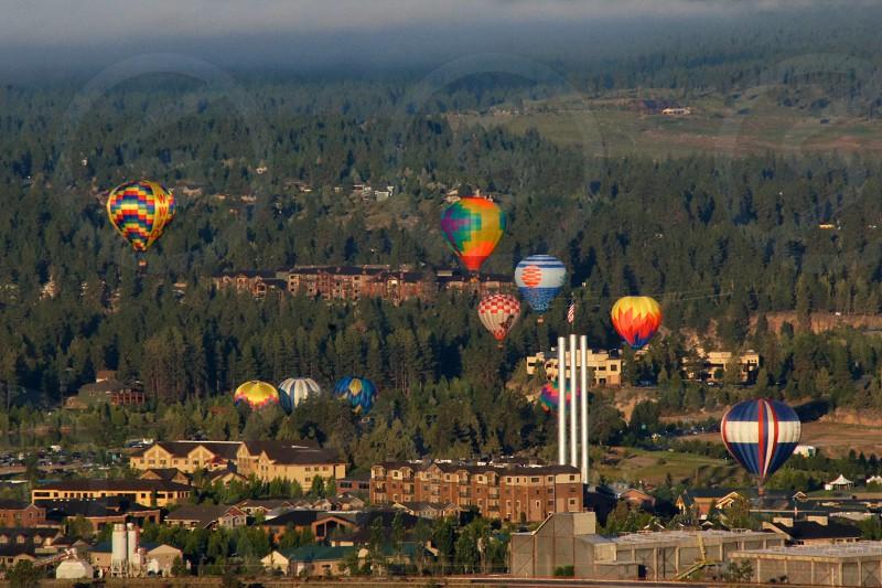 Hot air balloons bend Oregon city photo