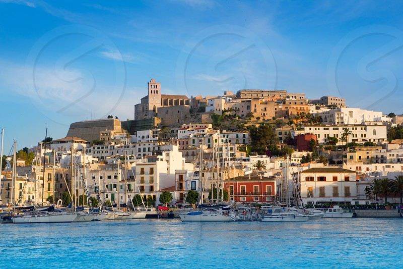 Ibiza Eivissa town with blue Mediterranean sea city view photo