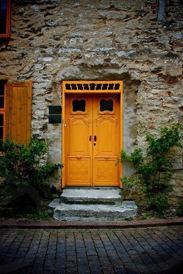Orange door Visby Gotland  photo