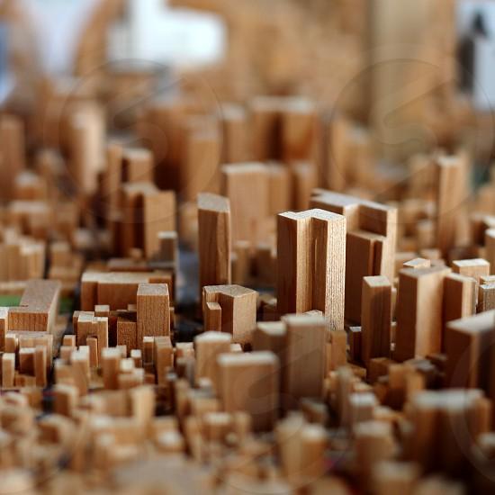 Wooden city model photo