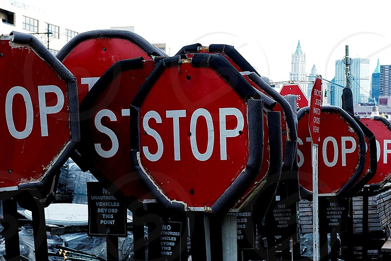 red and white stop signs photo