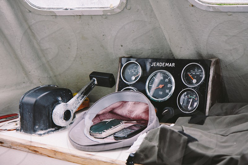 Captain's belongings on a boat on the Irish Sea. photo