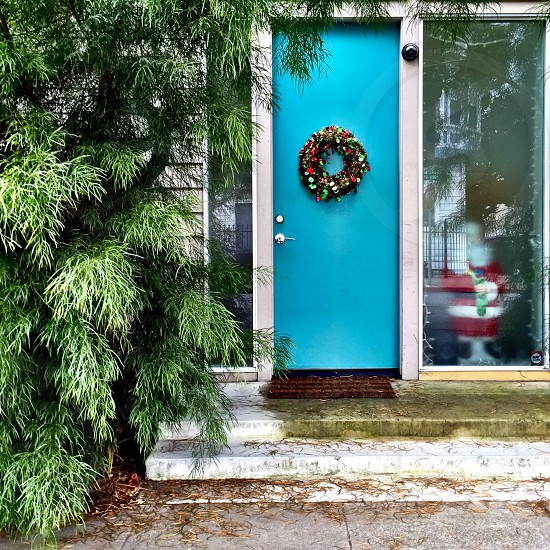 Blue door entry Santa Christmas  photo