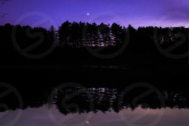 Night lake purple photo