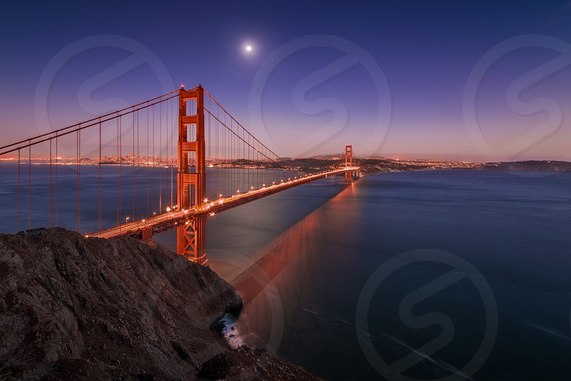 Tranquil waters at the Golden Gate Bridge  photo