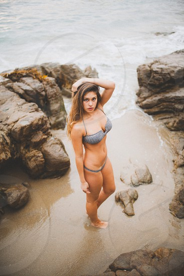 woman wearing gray bikini photo