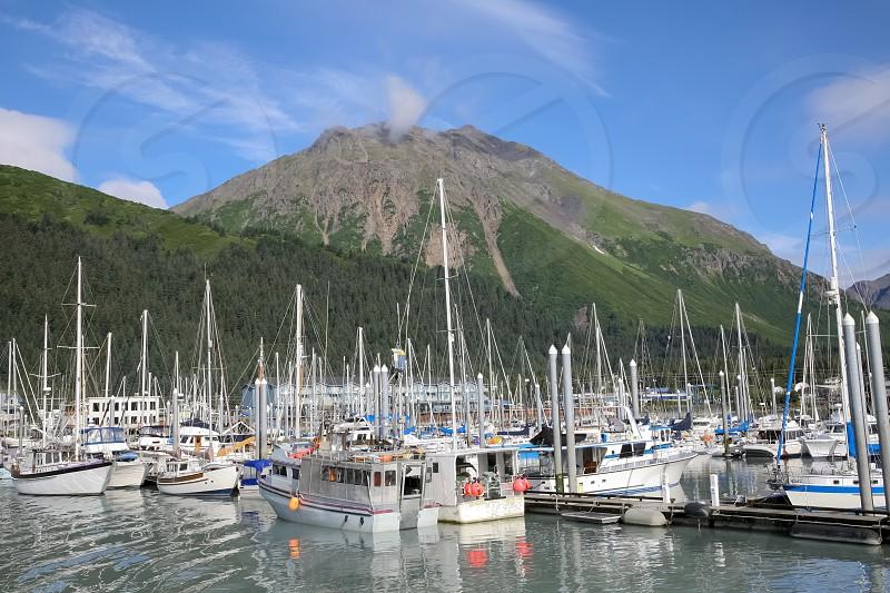 Recreational boats docked at a marina in Alaska USA photo