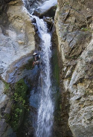 waterfall climb nature adventure risk rappel Eaton Falls canyon rock climber photo