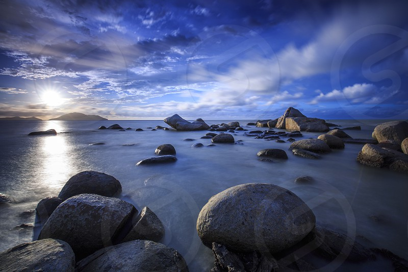 Landscape sea beach stone rock photo