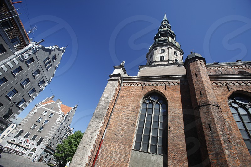 the cathedral in the city of riga in latvia in the baltic region in europe. photo