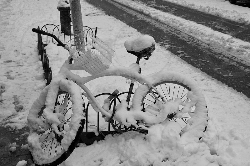 Snow covered bicycle in Washington DC photo