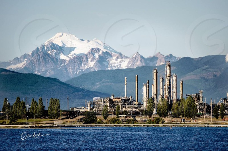 mountain snow cap mount baker puget sound fidalgo refinery tesoro landscape consumption gas oil diesel cascades range alaska crude beautiful scenery tide photo