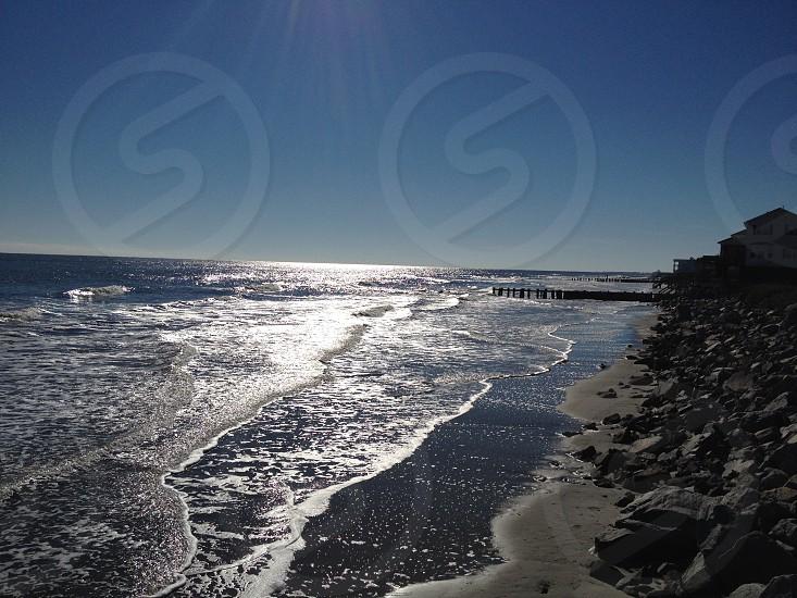 Ocean Sea Shore Rocky Coast Sunshine photo