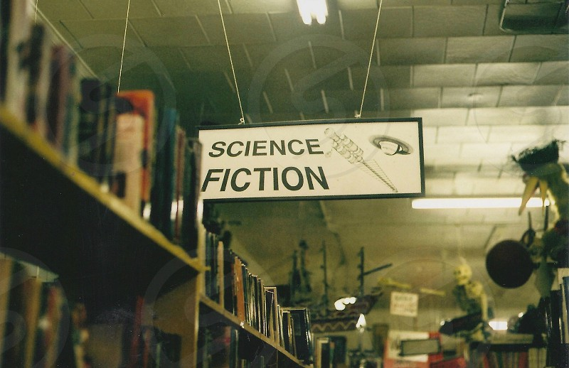 science fiction sign in book aisle photo