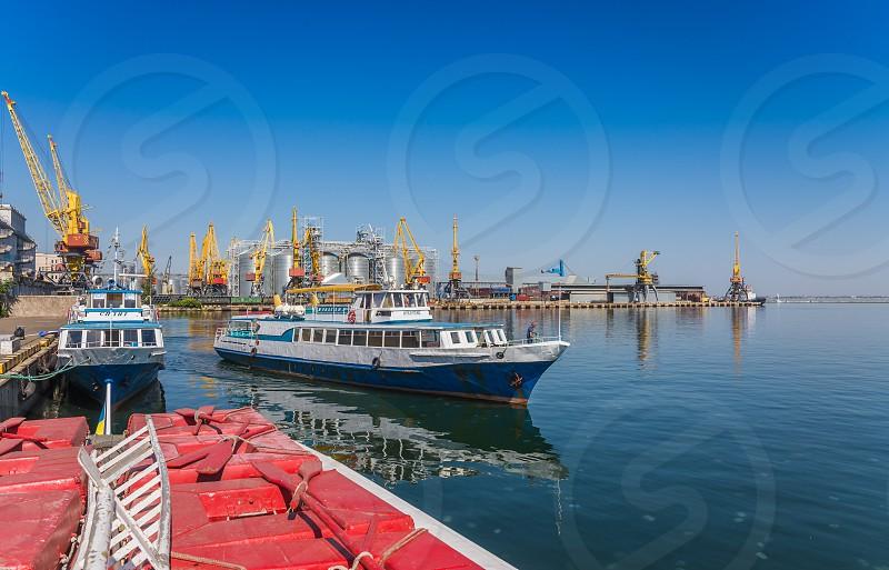 Odessa Ukraine - 08.28.2018. Pleasure boat in the port of Odessa in a sunny summer day photo