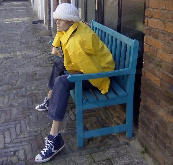 Yellow Jeans Sneakers Bank Blue White Corner photo