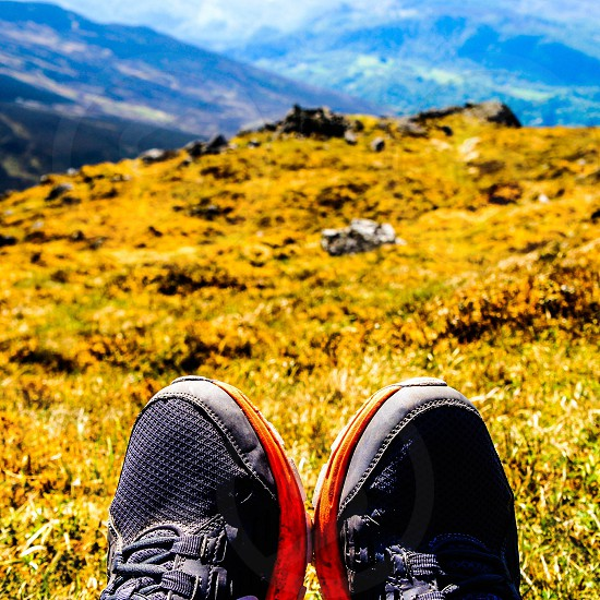 person wearing black shoes on green rock formation during day time photo
