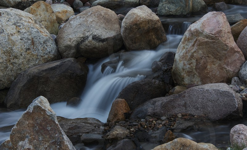 A detail from a manmade waterfall near where I live. photo