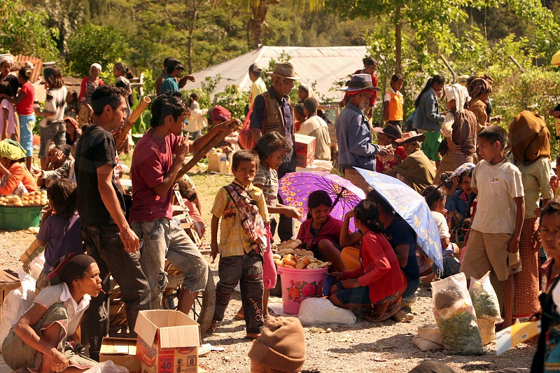 the market at the village of Aituto in the south of East Timor in southeastasia. photo