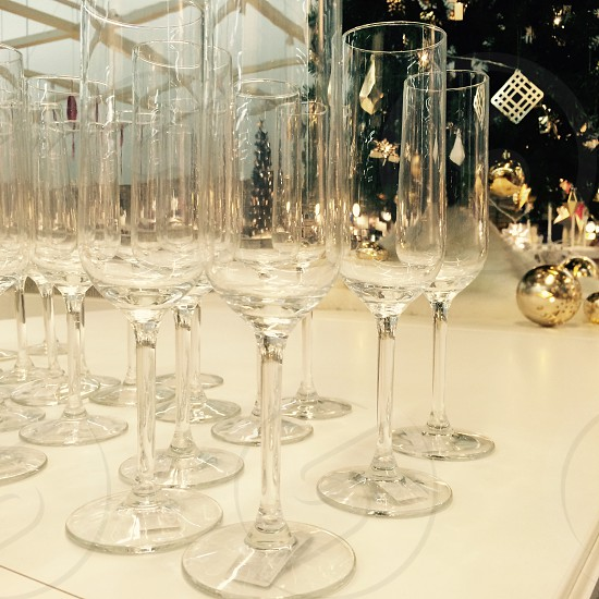 Champagne flutes ready for the new year photo