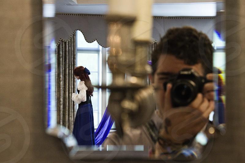 Photographer Camera Tattoo Reflection Mirror Princess 2014 Indoor Ambient Lighting Rose DSLR photo