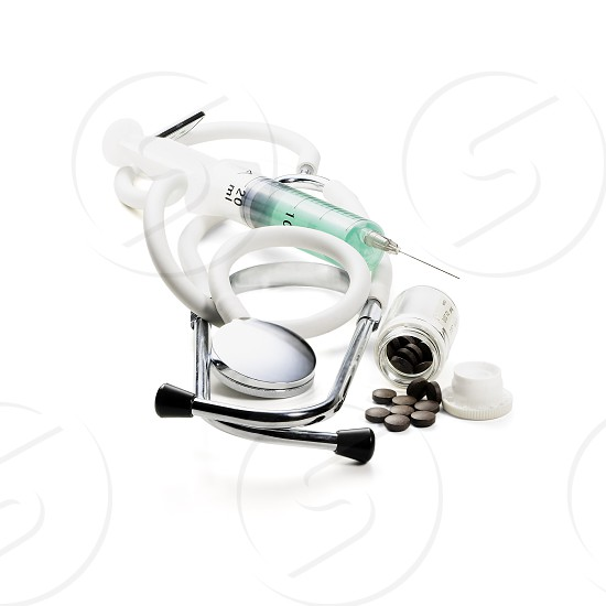 doctor's medical tools isolated on white background photo