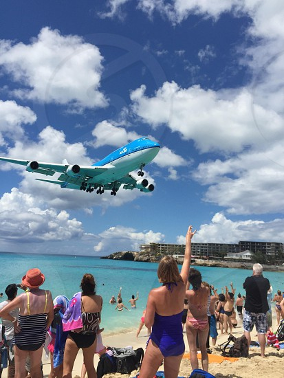 Maho beach in St. Maarten  photo